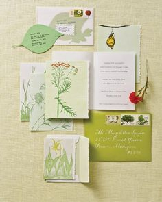 This leafy invitation suite reflects the setting of this real wedding in a lush park.