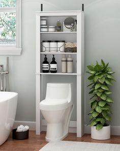 Over Toilet Storage, Bathroom Storage Units, Toilet Shelves, Bathroom Organization, Storage For Small Bathroom, Over The Toilet Rack, Bath Storage, Toilet Room Decor, Small Toilet Room