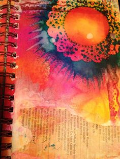 Sunshine, art journal background: doilie as stencil, Dylusion spray, stamp with distress ink and ripped phone book collage by Claire