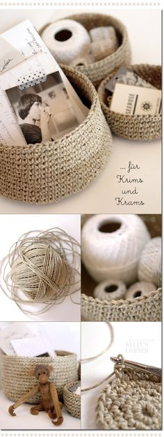 """Crocheted storage bowls from packing twine.You need to google """"Les Tissus Colbert: Kelly's Corner: das geht wie am Schnürchen"""" and translate the pattern into English"""