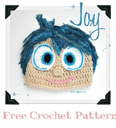 Free Crochet Pattern Inside Out Movie Joy Hat  by RepeatCrafterMe