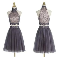 Popular grey halter two pieces beaded vintage unique style homecoming – NewestDress