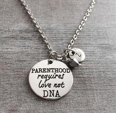 Parenthood requires love not DNA, Stepmom Necklace, Step Mom Pendant, Step mom Jewelry, Step Mom Keepsake, Step mom Charm, Step mom, Gifts by SAjolie, $18.95 USD