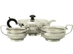 Sterling Silver Three Piece Tea Service - Queen Anne Style - Antique Victorian  SKU: W8962 Price  GBP £1,395.00  http://www.acsilver.co.uk/shop/pc/Sterling-Silver-Three-Piece-Tea-Service-Queen-Anne-Style-Antique-Victorian-96p6407.htm#.Vjnwyis8rfc