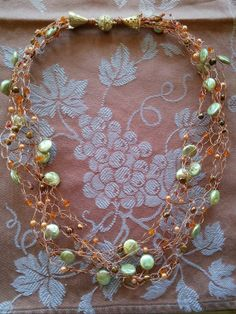 Copper Crochet Wire Necklace with many by BlingBeaderBaubles, $25.00