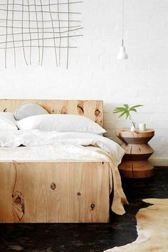 minimalist wood bed