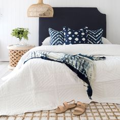 This Indigo fabric on the Como bedhead will get rid of any bedroom blues. This timeless bedhead is a Farm Bedroom, Blue Bedroom Decor, New Bedroom Design, Home Bedroom, Girls Bedroom, Bedroom Ideas, Master Bedroom, Awesome Bedrooms, Beautiful Bedrooms