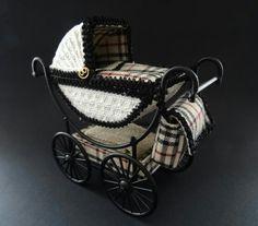 Dollhouse Burberry pram made by Jolanda Knoop