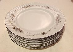 Flair Fine China Japan Alyce 492 Dinner Plates set of 7 white Dishes #Flair