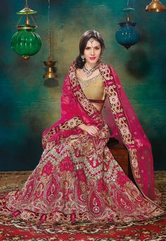 Beige and Pink Net Lehenga Choli with Dupatta: LWK1565