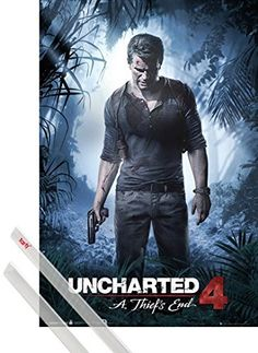 Poster  Hanger Uncharted Poster 36x24 inches 4 A Thiefs End And 1 Set Of Transparent 1art1 Poster Hangers -- Click image for more details.