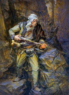 Albanian Warrior - Nothern Albania region, the Great Highlands (artwork) Greek Warrior, Fantasy Warrior, Traditional Paintings, Traditional Art, Albanian People, Les Balkans, Albanian Culture, Turkish Soldiers, Landsknecht