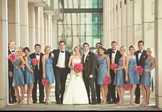 Blue and fushia bridal party
