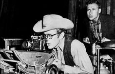 James Dean on the set of Giant (1956) - I thought it was a long movie, nevertheless, a great movie.