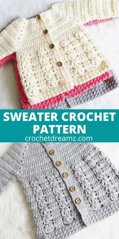 This crochet baby sweater includes 6 sizes from baby to Toddler. The pattern has an easy to work Raglan shaping and a textured body with floral stitches. Crochet Baby Sweater Pattern, Crochet Baby Sweaters, Baby Sweater Patterns, Crochet Baby Clothes, Baby Patterns, Baby Knitting, Crochet Patterns, Crochet Toddler Sweater, Free Knitting