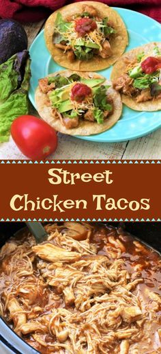 Street Tacos Recipe Chicken, Lime Chicken Tacos, Baked Chicken Tacos, Shredded Chicken Tacos, Chicken Taco Recipes, Easy Baked Chicken, Mexican Food Recipes, Crock Pot Chicken Mexican, Cinco De Mayo
