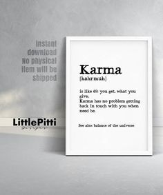 Karma print karma definition funny gift boyfriend birthday