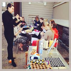 Teaching how to do crochet with three yarns in TitiTyy. Tiina took this photo. :)