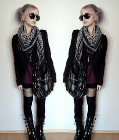 H Jacket, H Sheer Shirt, Demonia Boots, Second Hand Scarf, Lindex Bag
