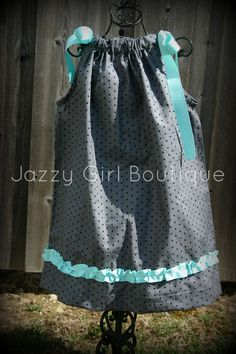 Girls Boutique Pillowcase Dress  Grey with Black Polka Dots and Aqua Blue Ribbon Accents  $23