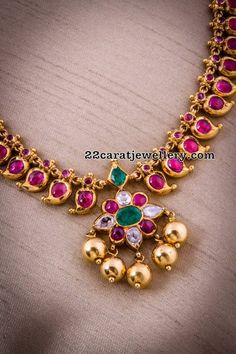 Necklaces Simple Simple Ruby Necklaces - Jewellery Designs - Latest Collection of best Indian Jewellery Designs. Kids Gold Jewellery, Gold Jewelry Simple, India Jewelry, Gold Jewellery Design, Jewellery Shops, Temple Jewellery, Diamond Jewellery, Handmade Jewellery, Jewellery Box