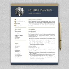 Resume Template for Word / Professional Resume Template CV Cover Letter Example, Cover Letter For Resume, Cover Letter Template, Letter Templates, Template Cv, Modern Resume Template, Resume Templates, Design Templates, Microsoft Word 2007