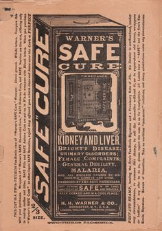 Detail from inside my Warner's Safe Cure Almanac 1892 - H.H. Warner & Co., Rochester, NY, USA (and several other locations around the world)