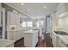White Cabinets + Hardwoods + Kitchen Island
