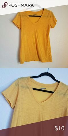 Yellow V-Neck Color is shown better in first picture. Regular v-neck. Great for a comfy style or can be dressed up. No modeling, too small for me.  ARIZONA   -- ALL reasonable offers accepter. Let's find a price perfect for YOU! Always open to trading! Forever 21 Tops Tees - Short Sleeve
