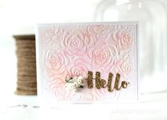 Beautiful Hello Texture Paste Card by Julia Stainton featuring Essentials by Ellen Dies