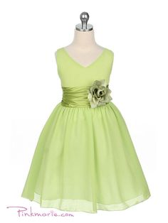 cute lime green with sash and flower