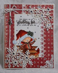 Stamped Christmas Card with Snowflake Bling