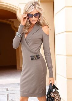 Send her out to brave the holidays in style. This taupe cold shoulder sweater dress is a perfect pick!
