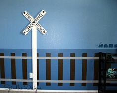 Spindles Designs by Mary & Mags: Train Bedroom-- train track & RR crossing coat rack