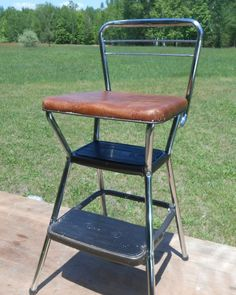 Vintage Cosco 1970's Retro Folding Chair Kitchen Step Stool Brown Vinyl  Chrome