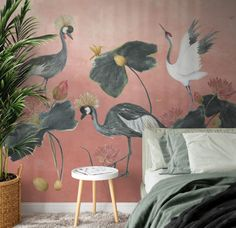 Crane dance (different background colors available) - Fleur Kuipers Bedroom Murals, Room Decor Bedroom, Crane Dance, Home Dance, Georgian Interiors, Wall Drawing, Decor Interior Design, House Colors, Colorful Backgrounds