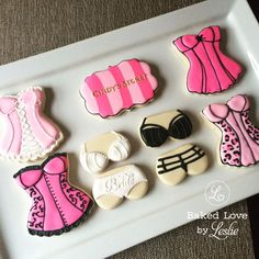 Bachelorette Party Lingerie Cookies - Baked Love by Leslie Bachelorette Party Desserts, Bachelorette Lingerie Party, Panty Party, Vegas Bachelorette, Lingerie Shower Cookies, Bridal Lingerie Shower, Bridal Showers, Lingerie Party Decorations, Lingere Party