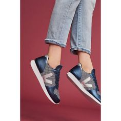 Veja Holiday Petrole Metallic Sneakers ($128) ❤ liked on Polyvore featuring shoes, sneakers, blue motif, blue evening shoes, holiday shoes, cocktail shoes, blue leather shoes and special occasion shoes