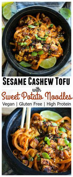 Sesame Cashew Tofu with Sweet Potato Noodles; vegan, gluten free, high protein…