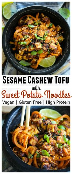 Sesame Cashew Tofu with Sweet Potato Noodles; vegan, gluten free, high protein…