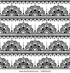 Mehndi, Indian Henna Tattoo Seamless Pattern by RedKoala vector ornament orient traditional style on white FEATURES: 100 Vector Shapes All groups have names All elements are easy to m Anklet Tattoos, Tattoo Henna, Henna Art, Mandala Art Lesson, Mandala Drawing, Doodle Patterns, Henna Patterns, Tattoo Patterns, Mandala Pattern