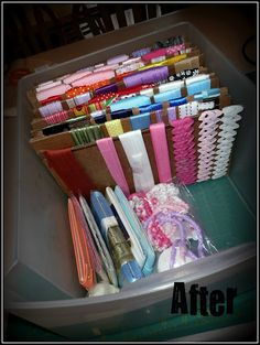 great way to organize your loose ribbons