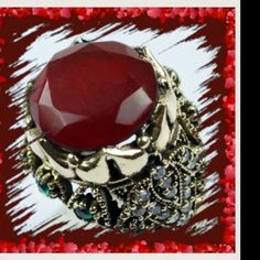 HIGH QUALITY  RUBY EMERALD TOPAZ 925 Kring Sterling silver 925K, new ,never worn Jewelry Rings