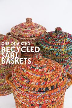Recycled Sari Baskets ~ Bright Day Hamper ~ Add fair trade style to your home ~ Eco-friendly finds Commerce Équitable, Eco Friendly Cleaning Products, Fair Trade Fashion, Textiles, Eco Friendly House, Sustainable Clothing, Sustainable Living, Couture, Hamper