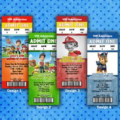 Printable PERSONALIZED Paw Patrol Birthday Party Admission Ticket Party Invitation - DiY Fast