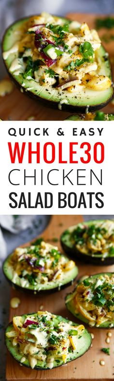 """6 minutes to skinny - This Creamy Whole30 Chicken Salad Boats recipe is the absolute perfect whole30 lunch hack. Healthy, quick and easy and a delicious Whole30 recipe idea! (Paleo Meals) - Watch this Unusual Presentation for the Amazing """"6-Minutes to Skinny"""" Secret of a California Working Mom"""