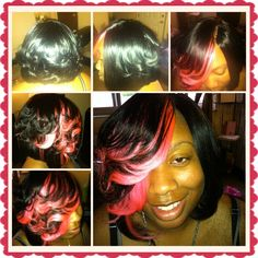 Full sew in cut into a bob and curls with pink pieces in front