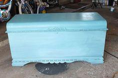 Old Cedar Chest Makeover Refurbished Furniture, Paint Furniture, Furniture Projects, Furniture Makeover, Furniture Decor, Diy Projects, Cedar Chest Redo, Painted Cedar Chest, Painted Trunk