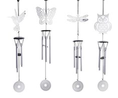 Silver Wind Chime Butterfly Gifts, Hummingbird, Key Chain, Wind Chimes, Charms, Fairy, Bling, Outdoor Decor, Silver