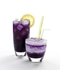 Going-Off-The-Deep-End Daiquiri  1 1/2 oz rum  3 oz blueberry juice  1 oz pineapple juice  1 squeeze fresh lemon